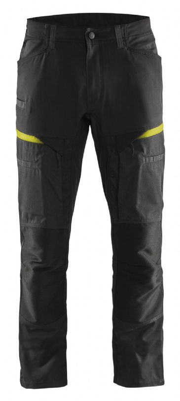 Blaklader 1456 Stretch Service Trousers - 65% Polyester/35% Cotton (Black/Yellow)